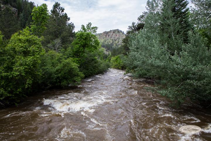 River running high.