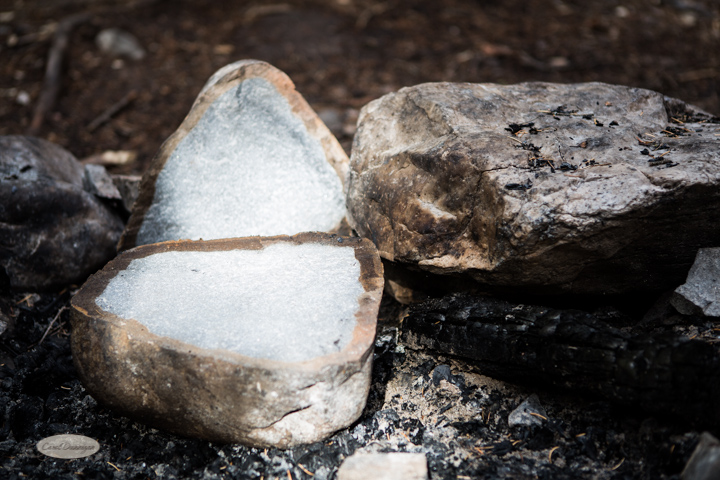 Around the campfire that was left behind, we found this rock cracked in half. Kind of cool to see what the inside looked like.